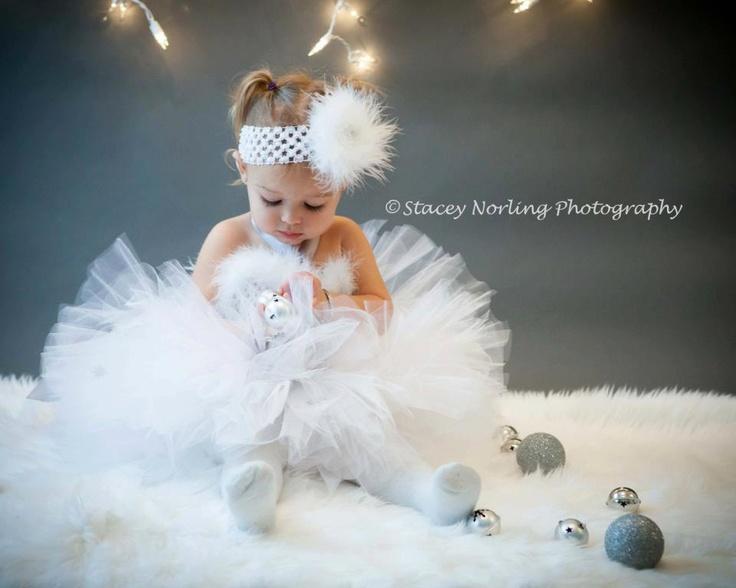 Winter Wonderland Tutu set- baby to toddler- sewn tutu- tutu and headband. $55.00, via Etsy.