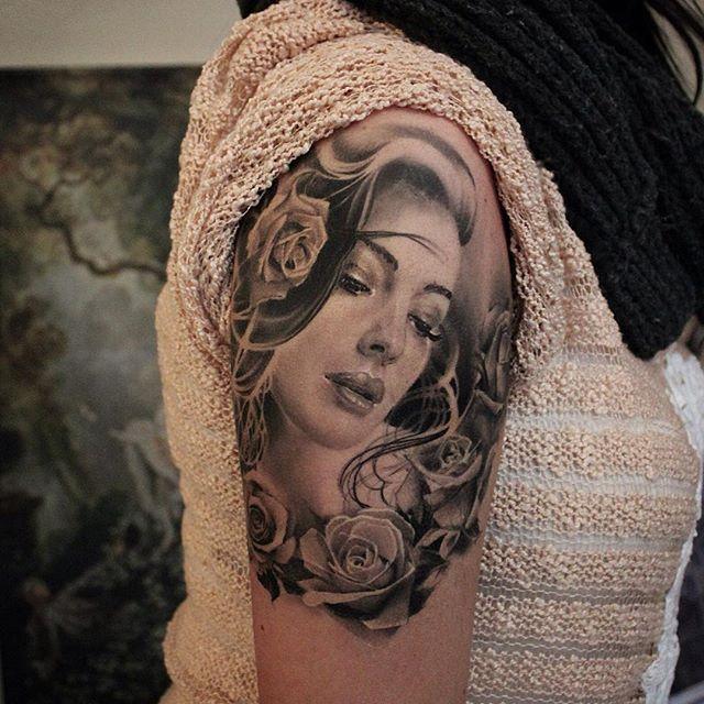 ...healed❤️ Moni Marino Portrait Tattoo