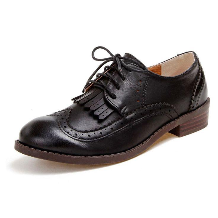 Женщины Повседневная Оксфорд Обувь Мода Кисточкой Зашнуровать Женщин Оксфорды Винтаж Англия Стиль Резные Brogue Оксфорды Для Женщин Леди Квартиры