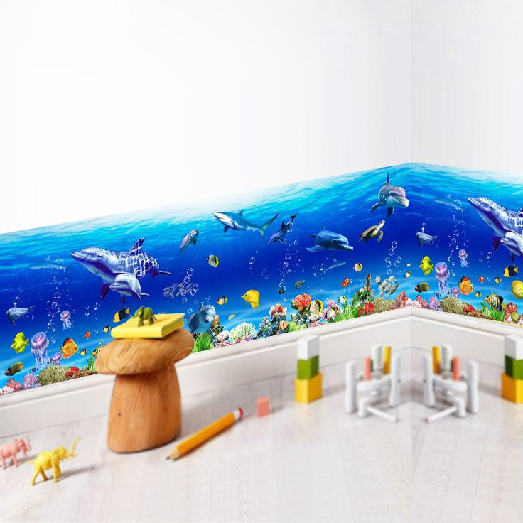 Cheap bathroom decor, Buy Quality wall stickers fish directly from China wall sticker Suppliers: Underwater World Wall Stickers Fish Shark Dolphin Marine Wall Art Decals 3d Kindergarten Nursery Kitchen Bathroom Decoration