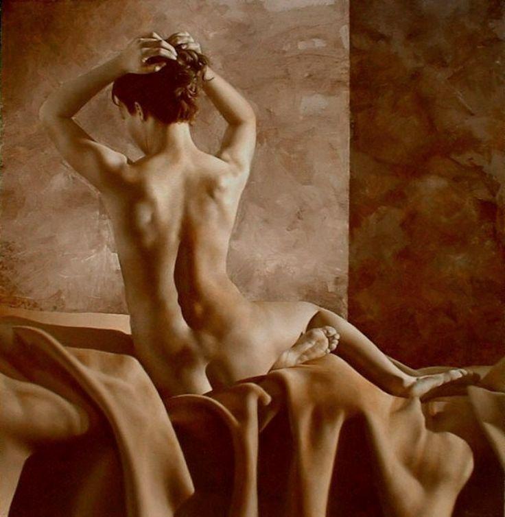 Female Nude. Oil on linen. Desnudo Femenino. Oleo sobre lino. alejandro rosemberg. PIntor argentino contemporáneo.