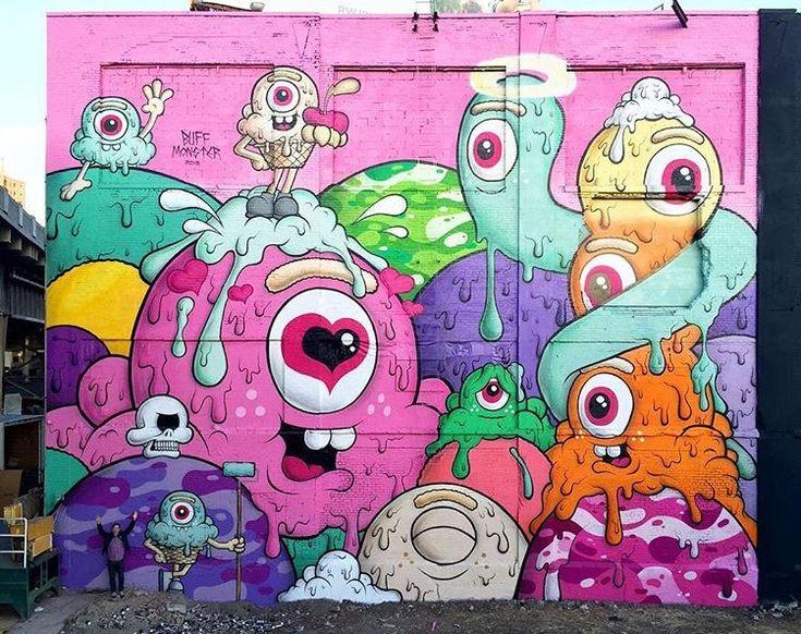 New Street Art by Buff Monster Jersey City #art #mural #graffiti #streetart
