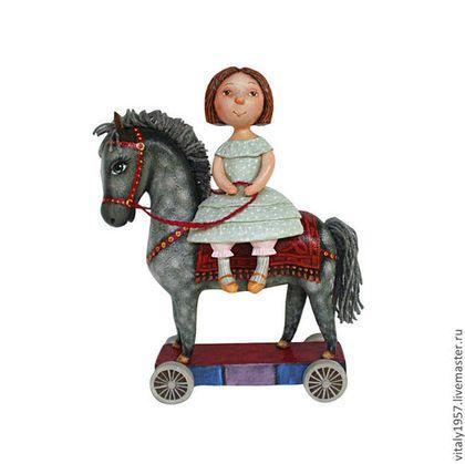 #dolls #girl #horse #Hand-painted #Souvenirs #wood #Miniatures #figurines. #ART #sculpture Коллекционные куклы ручной работы. Ярмарка Мастеров - ручная работа. Купить Девочка и  лошадь .  Скульптура. Дерево . Ручная роспись. Handmade.