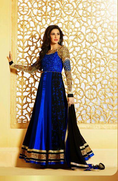 USD 96.63 Nargis Fakhri Blue and Black Resham Work Designer Salwar Suit   33867