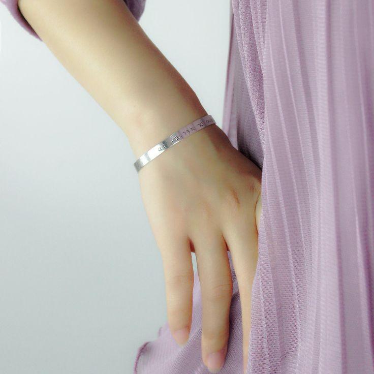 Sterling Silver Latitude and Longitude Coordinate Cuff Bracelet