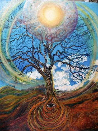 Tree.  Sacred Art painting by Alison Baumsteiger. Available at Ecoartopia.org and http://www.redbubble.com/people/ecoartopia/portfolio  Earth Day. Earth. God. Gaia.  Celtic. Tree of life. Meditation.  Sacred. Spiritual. Art.  Sun, Earth Day.