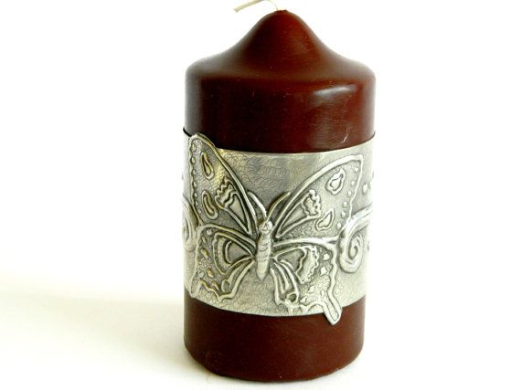 Candle Sleeve Pewter Repousse Butterfly and Twirl motif by Loutul, £11.00 @Louise Cote Cote Tullener