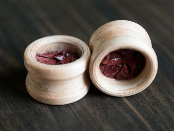 Beech wood ear plug with red jasper inlay by MoonLoops on Etsy