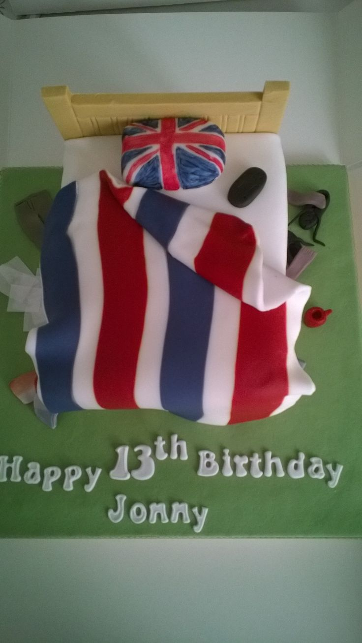 Untidy bedroom birthday cake