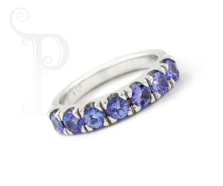Custom Made 9ct White Gold Double Cut out Claw Eternity Ring, Set With Round Cut Tanzanite's