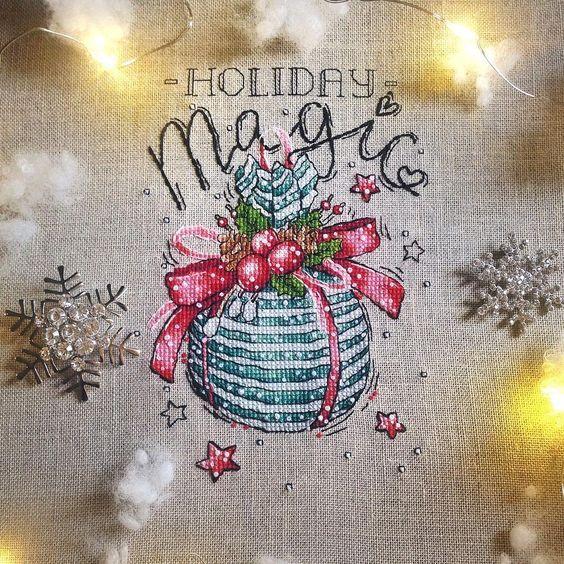 """Finished work by pattern """"Holiday Magic"""" #sa_stitch #sa_pattern #pattern #crossstitch"""