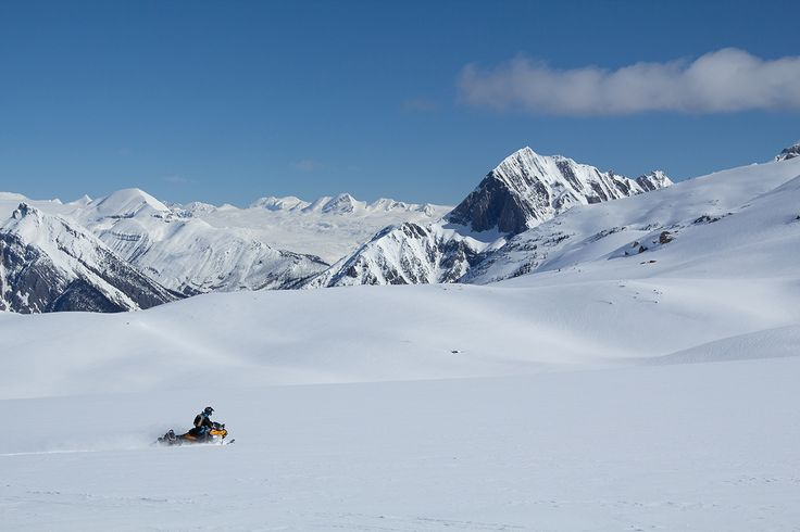 Snowmobiling in Golden, BC.