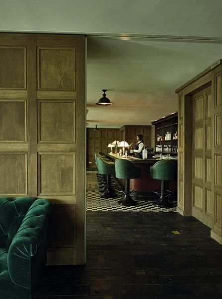 aged oak wall panelling / green velvet                                                                                                                                                                                 More