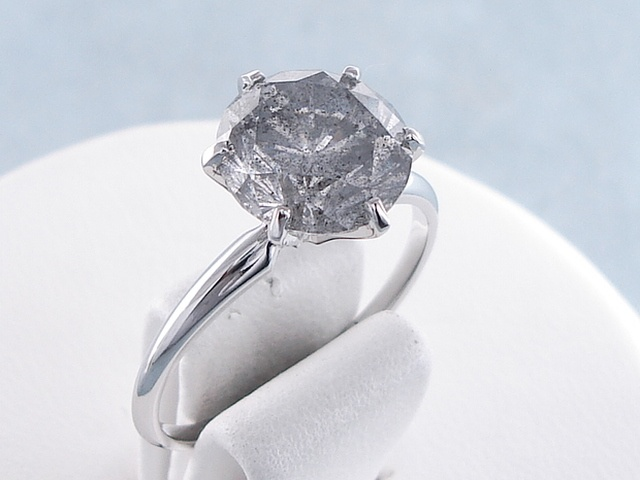 3.10 ctw Round Cut Diamond Engagement Ring Fancy Gray I3. For sale for  $4,990 on