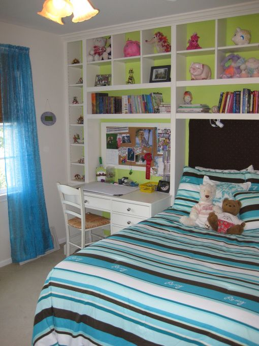 A Hip Pre-Teen Bedroom - I also really like the idea of shelving around the headboard for my own bedroom!