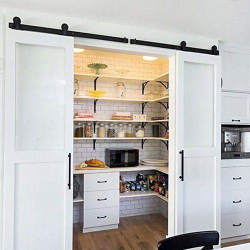 WinSoon 8FT Black American Style Interior Roller Double Wood Barn Door  Sliding Hardware Closet