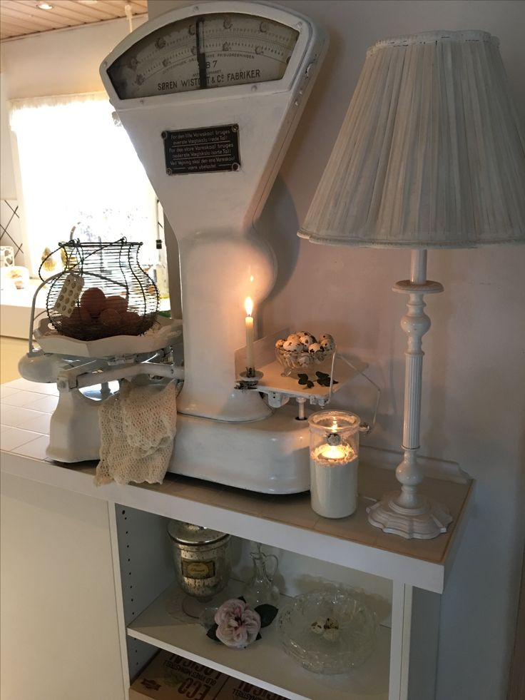 very old shabby chic scale painted white, in my romantic kitchen