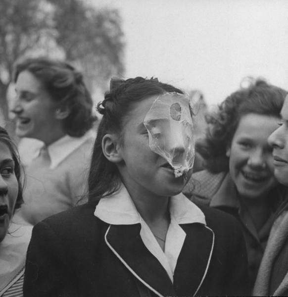 vintage everyday: A young girl blowing a large bubble gum bubble, 1946