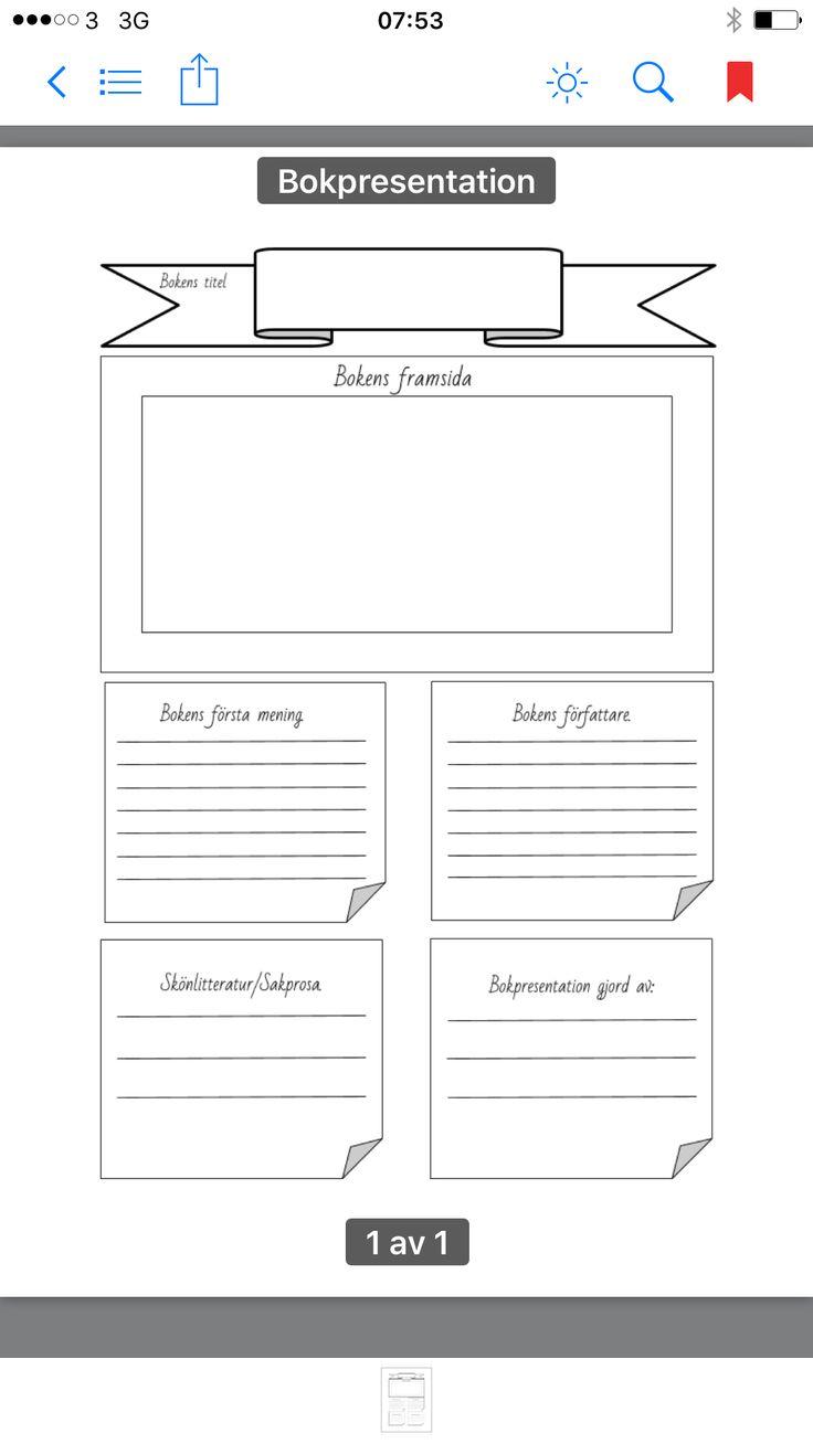 Bokpresentation som kan användas på Språkintro. Med hjälp av framsida etc kan eleven förutspå vad boken ska handla om eleven inte har läst boken.