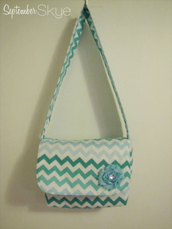 Blue Ombre Chevron Kids Messenger Bag - Girls Purse
