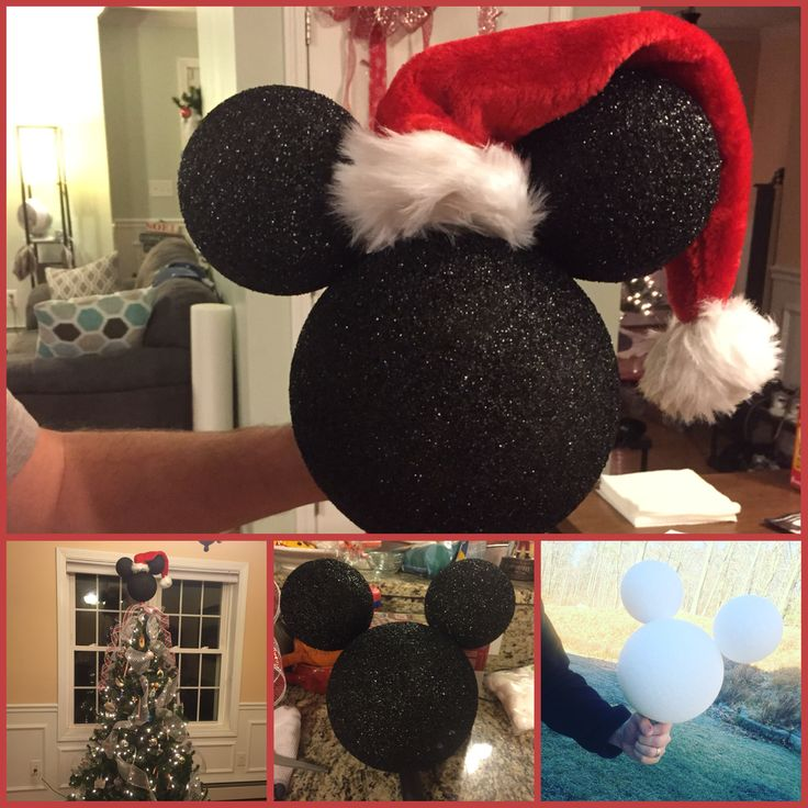 DIY styrofoam Mickey Mouse Xmas tree topper. Super cute & easy! Two 3-inch balls and 1 5-inch ball, core out a place to sit on the tree (I inserted a toilet paper roll to help stabilize), spray paint black and let dry overnight, take skewers and/or glue to attach into Mickey shape, then decorate with Santa hat and ribbon.