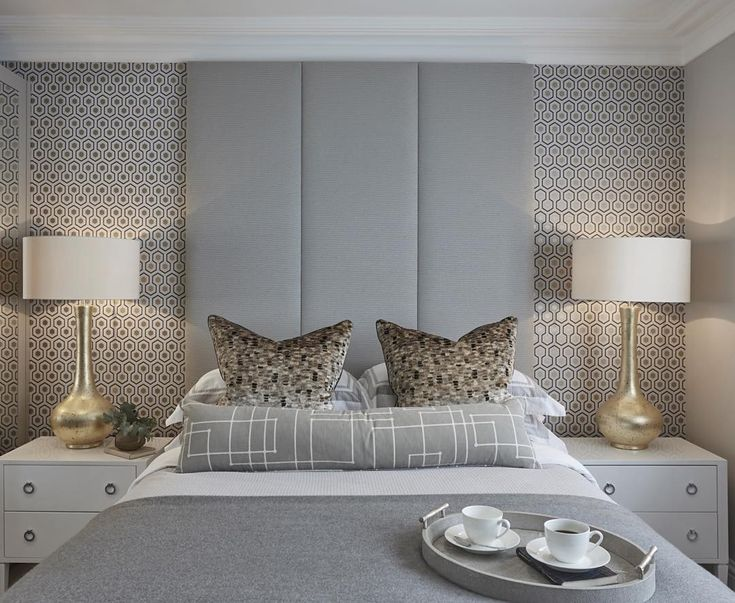 """Guest bedroom at the Esher project #bedroom #bedroomdecor #interiors #inspiration #wallpaper #homedecor #SophiePatersonInteriors"""