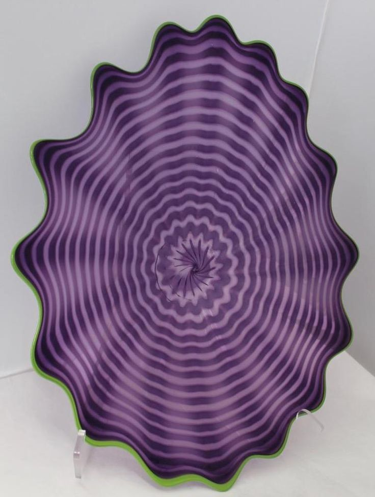 Beautiful Hand Blown Glass Art Wall Platter Bowl Plate Wrapped 8137 ONEIL #Contemporary