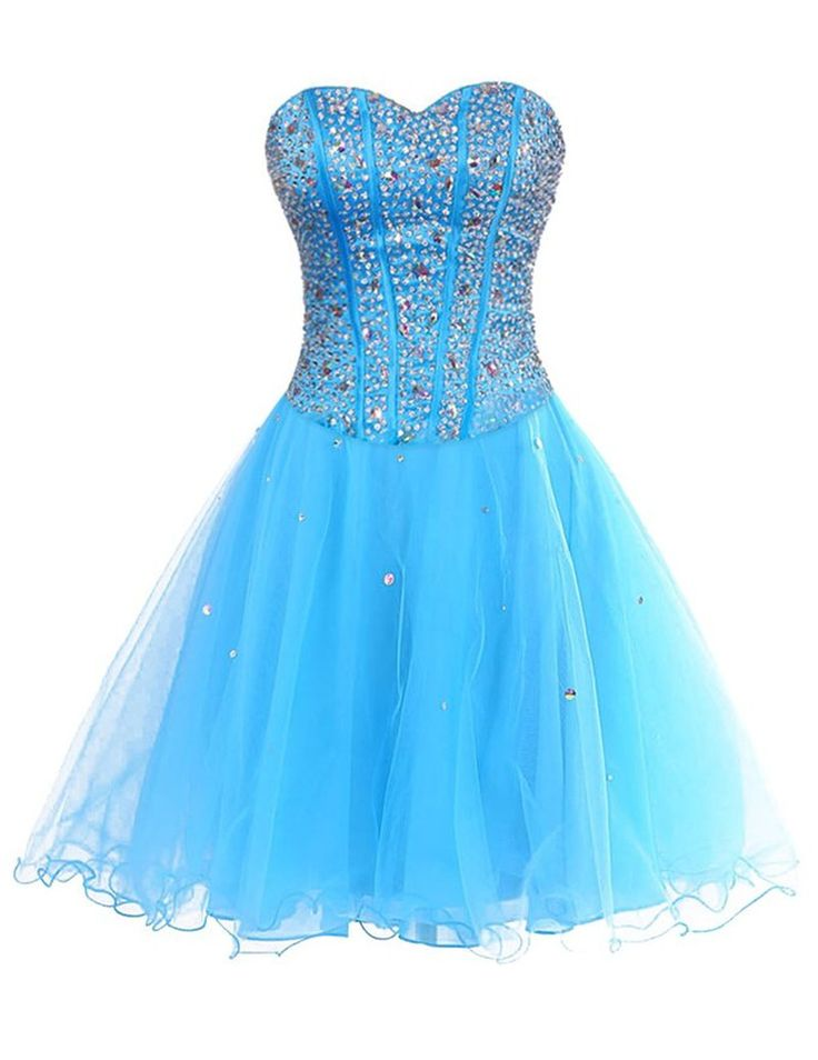 Blue Tulle Homecoming Dress,Crystal and Beaded Homecoming Dresses,
