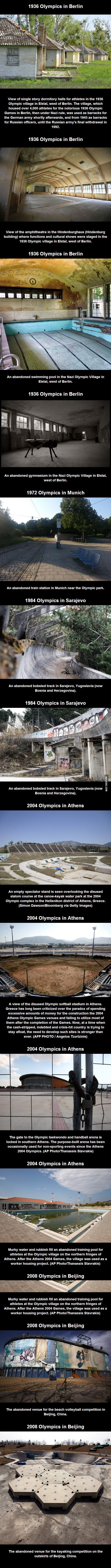 Abandoned Olympic Venues - the money could have been better spent.  This is part of the reason I'm not as into the Olympics anymore.