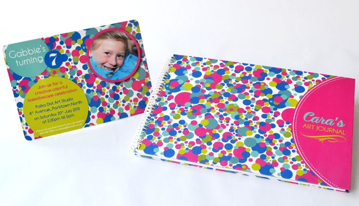 Kaleidoscope design - available as an Invitation as well as a personalised Sketch pad. Ideal for Art Parties and great gifts for budding artists - www.macaroon.co
