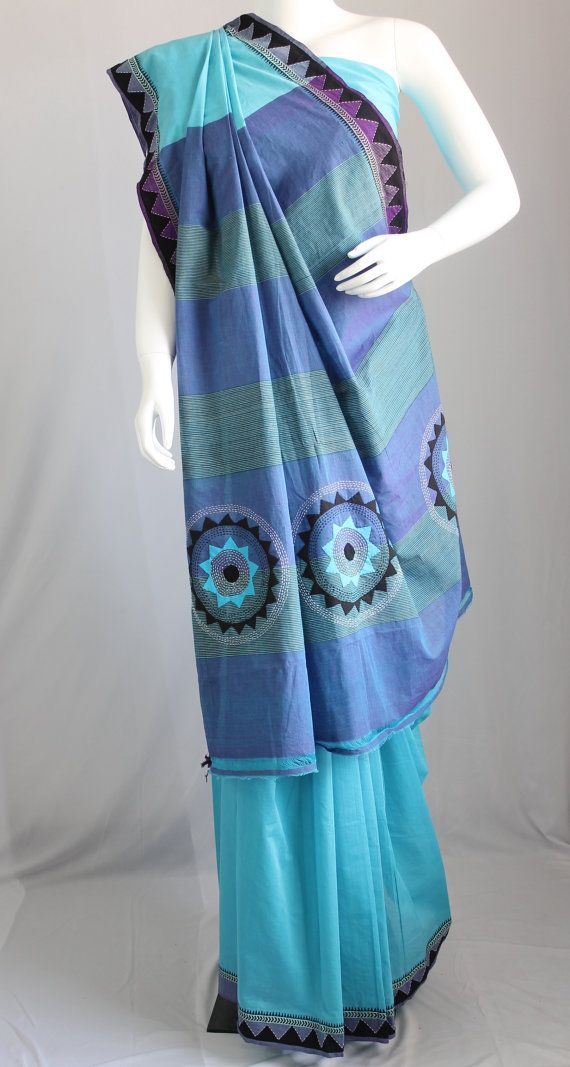 Handloom cotton saree with hand embroidered applique by KritiKala