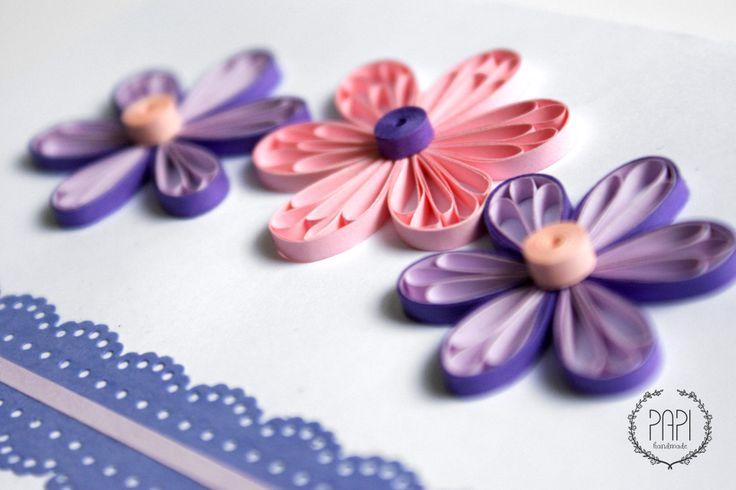 Kartka ręcznie robiona quilling na narodziny córki dziecka z koronką i kwiatami handmade