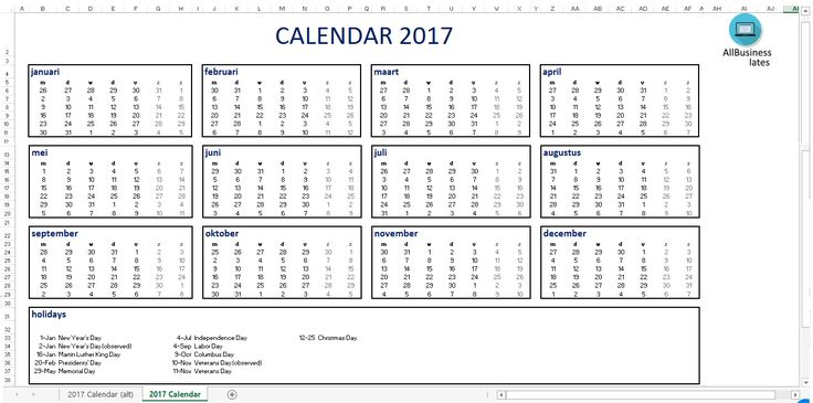 2017 Calendar Excel EN A3 size - Download our free printable 2017 - attendance calendar template