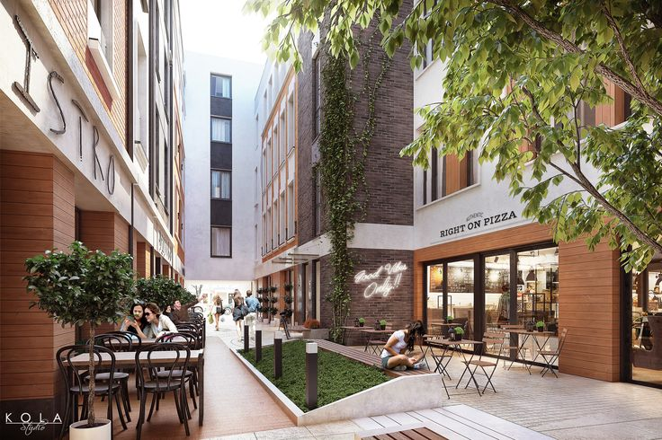 Exterior visualisations of a mixed-use (residential and hotel) building with a commercial courtyard, designed in a modern classic style. Facade finished with red and dark grey brick, white and grey plaster and warm color wood, with decorative block paving.