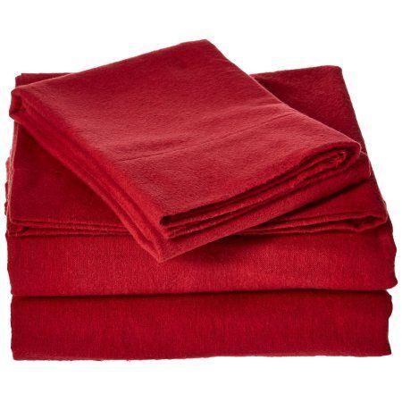 Brielle 4.5 oz Flannel 100% Cotton Sheet Set, Queen, Red