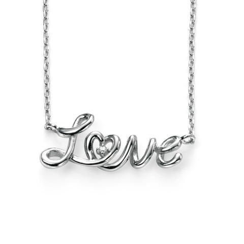 Silver love necklace with rhodium plating