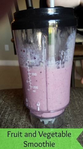 Fruit and Vegetable Smoothie recipe. Good way to get your picky eater to eat veggies!