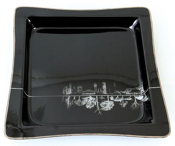 SOC Square Glass Platter. #designer #glass #platter #black
