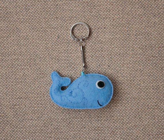 Blue whale felt keychain pendant by suyika on Etsy