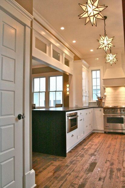 Transitional U shaped Peach kitchen, white cabinets, $50,000  $