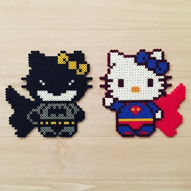 Batman and Superman Hello Kitty perler beads - Original design by kittybeads
