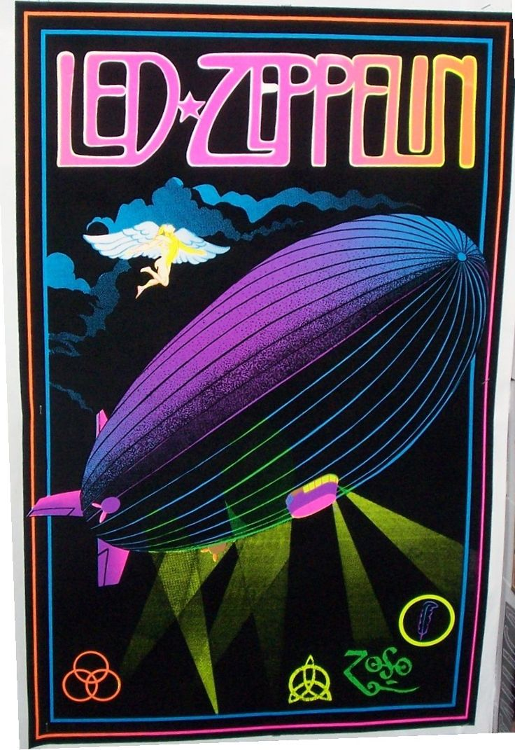 "Vintage Led Zeppelin Black Light Poster Replica 13 x 19"" Photo Print )"