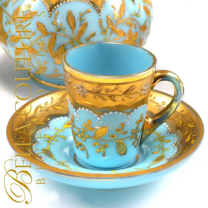 RARE Gorgeous Antique MOSER Floral Gilt Gold Enamel French Bohemian Blue Opaline Glass Miniature Tea Cup & Saucer Dish Plate