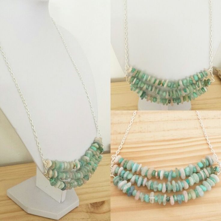 Multi Beryl and Amazonite Statement Necklace...   This beautiful mix if colour tones reminds me of mermaids and the sea. Beautiful for the beachside