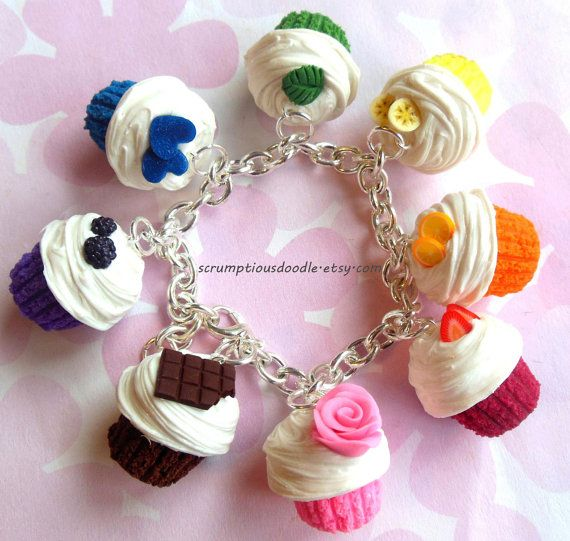 polymer clay rainbow cupcake charm bracelet by ScrumptiousDoodle, $30.00