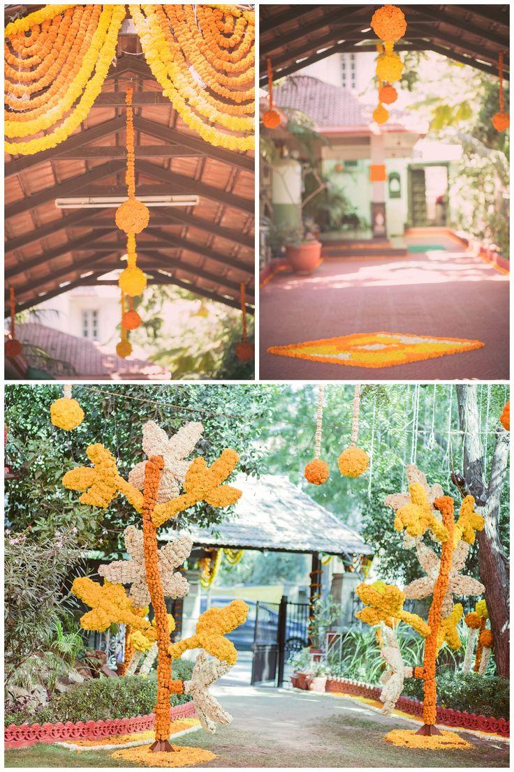 Mehndi function   Gujarati wedding   Wedding Photography  Real flowers   Marigold   Flower decoration   Ahmedabad