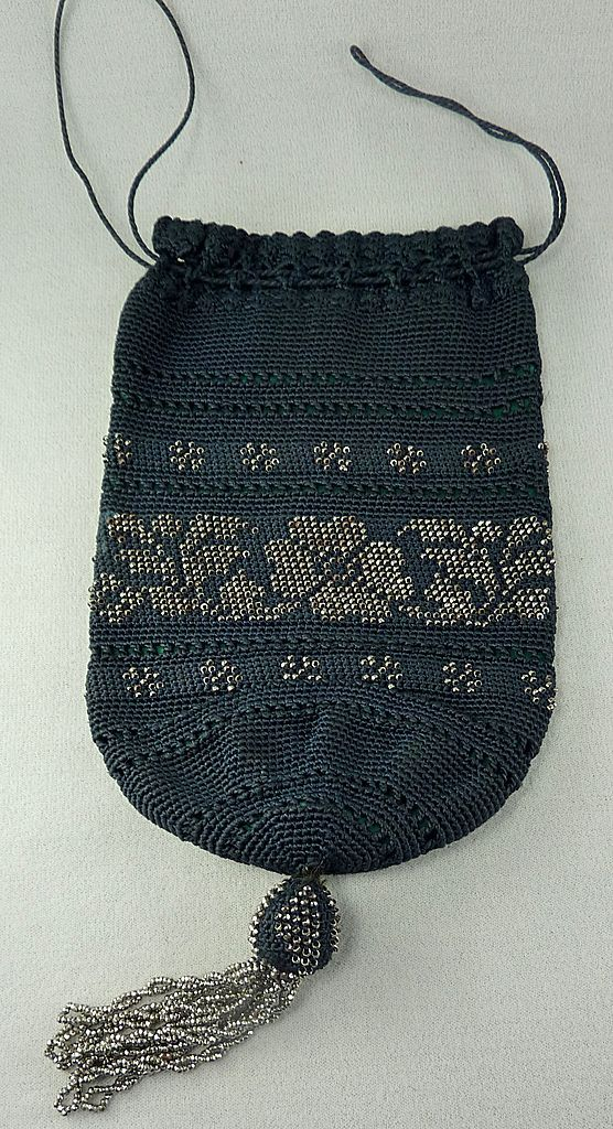 Black Draw Sting Silver Metal Beads Hand Bag Purse ...