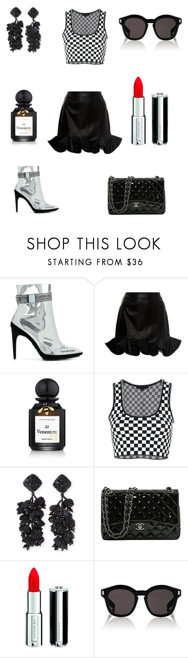 """""""Fancy Nancy"""" by irahsleon ❤ liked on Polyvore featuring Off-White, Zeynep Arçay, L'Artisan Parfumeur, Alexander Wang, NOIR Sachin + Babi, Chanel and Givenchy"""