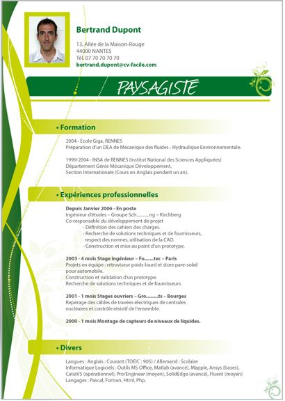 modele cv jardinier 8 best CV images on Pinterest | Resume templates, Stage and Best  modele cv jardinier