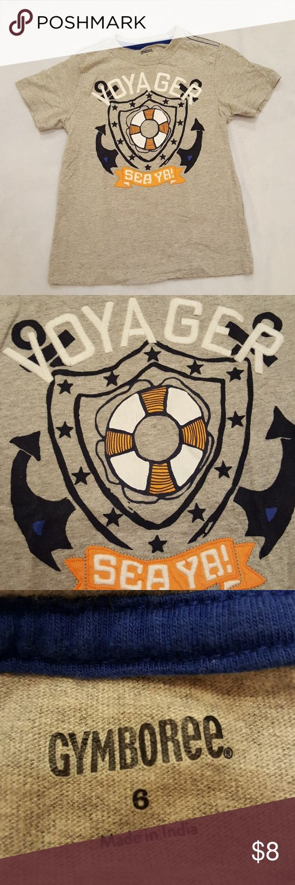 Gymboree boys shirt Good condition Gymboree boys light gray nautical shirt. Letters are embroidered. Gymboree Shirts & Tops Tees - Short Sleeve